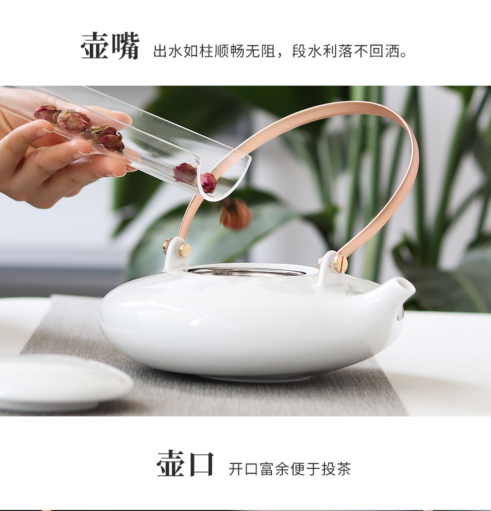 Jingdezhen flagship store ceramic white porcelain tea sets of household contracted teapot tea saucer gift set