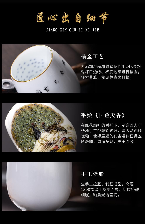 景德镇旗舰店陶瓷玲珑手绘品茗杯粉彩茶杯中式孔雀喝茶品茗杯茶盏
