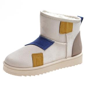 補丁拼色雪地靴女2019冬新款韓版學生百搭短筒靴加厚加絨保暖棉鞋