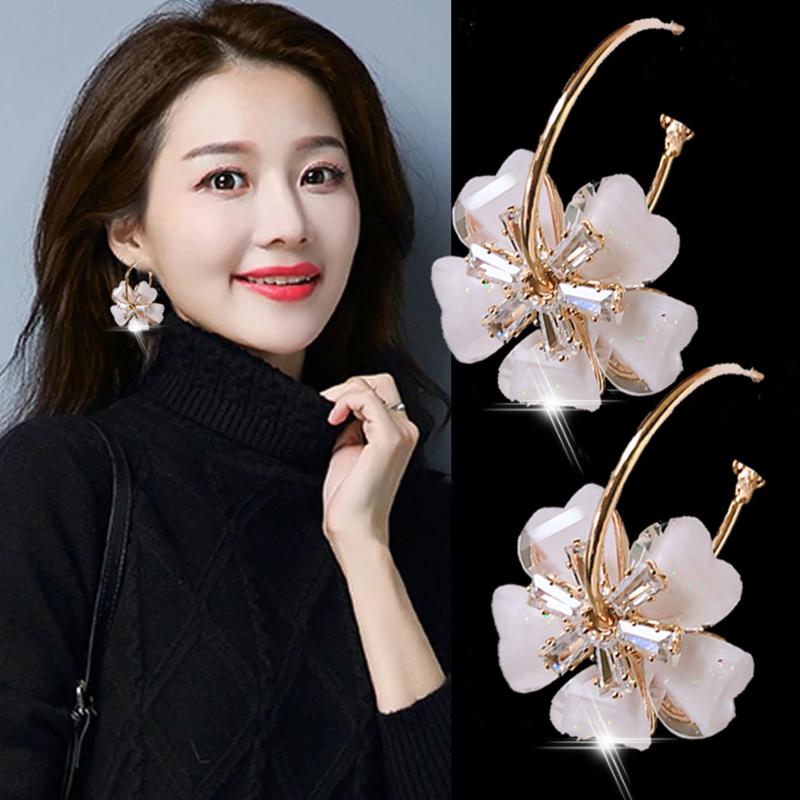 High-grade sense earrings 2021 new trend Korean temperament drop earrings women's net red flower crystal earrings temperament fashion