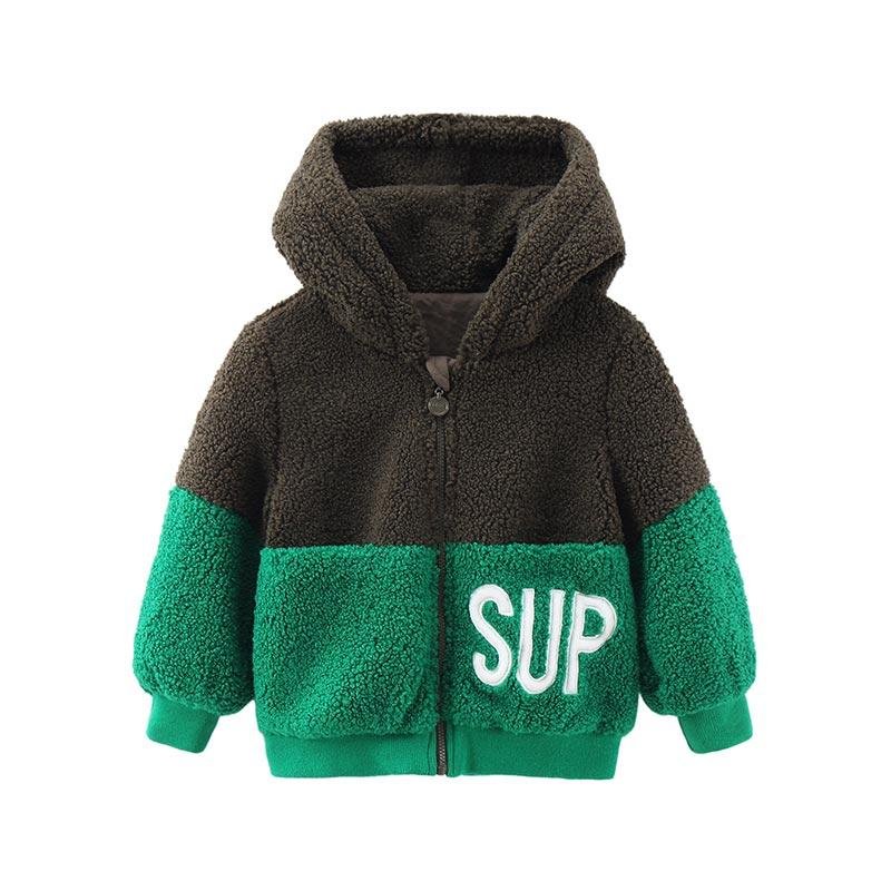 童集乐男童1-6岁加厚连帽开衫卫衣儿童宝宝羊羔绒外套春秋9115701