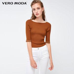 Vero Moda2019春季新款韩范修身版型圆领五分袖上衣女|319124504