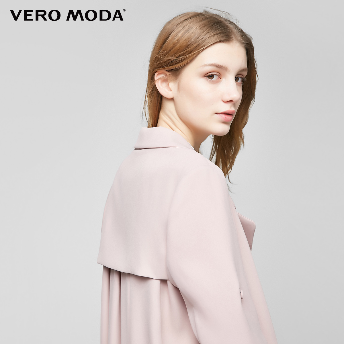 Vero Moda2017新品系带防风档直筒中长款风衣外套|317121512