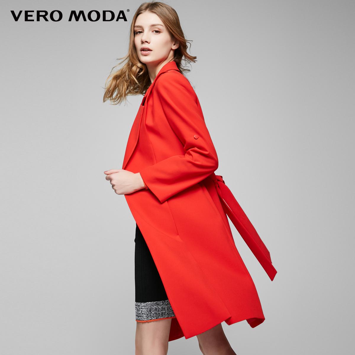 Vero Moda2017新品翻领两穿袖直筒中长款风衣外套|317121502
