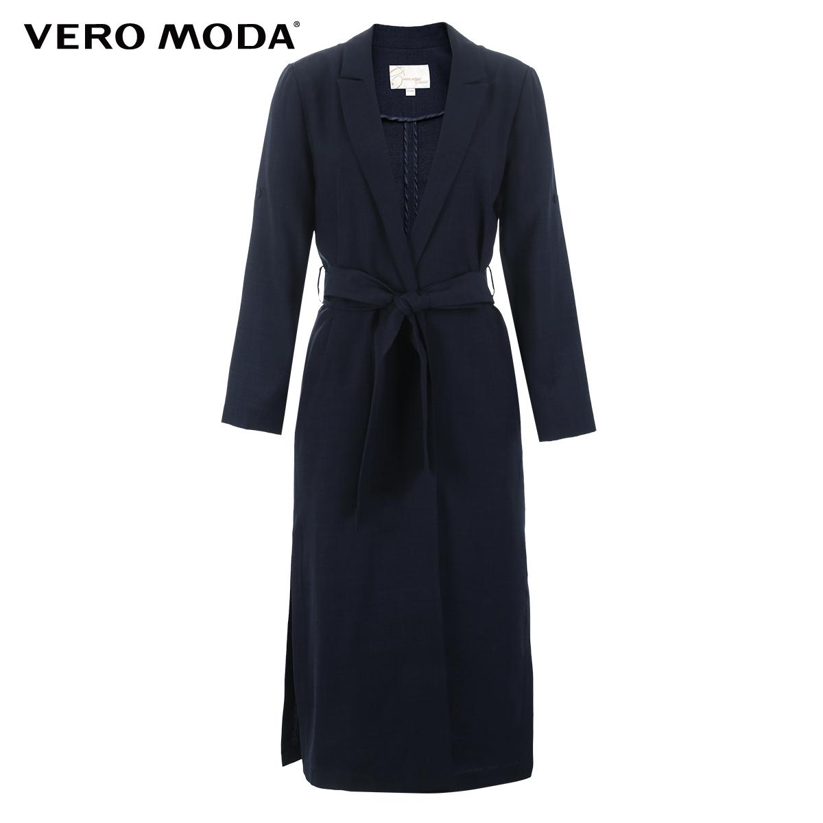 Vero Moda2017新品翻领系带两穿袖中长款风衣外套|317121522