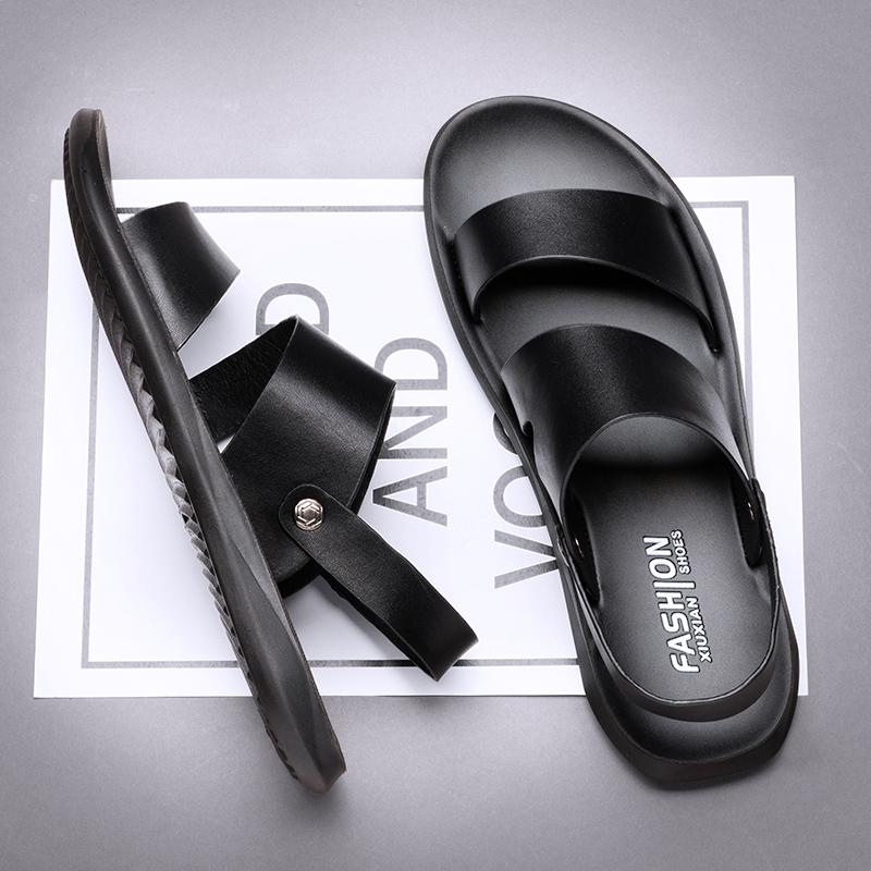 凉鞋男真皮中年人爸爸软底夏季男士休闲沙滩鞋外穿两用牛皮拖鞋男