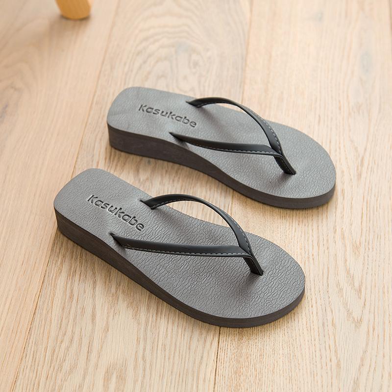 厚底坡跟细带中跟人字拖女男平跟底情侣拖鞋沙滩拖松糕防滑凉拖鞋