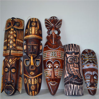 African color mask solid wood home decoration retro nostalgic bar decorative wood carving animal wall hanging wall ornament