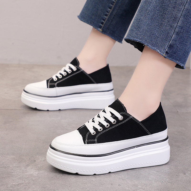 Thick-toed Canvas shoes for women in autumn 2019 Korean Style a higher Casual Women's Shoes ins Street Shoot Tide Shoes