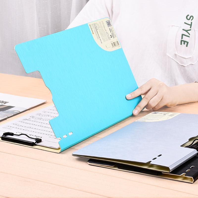 创易A4文件夹夹板夹v夹板学生用品时尚乐谱书写秘书文具创意合同夹签约夹垫板夹