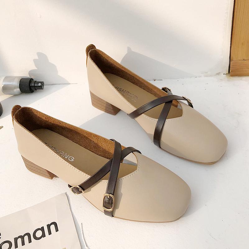 方头粗跟仙女单鞋小皮鞋浅口中跟女鞋女2020新款秋季网红百搭鞋子