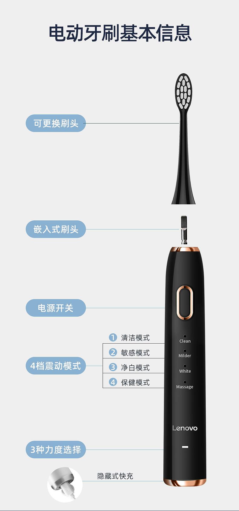 联想 充电式磁悬浮声波电动牙刷含杜邦刷头5个 图21