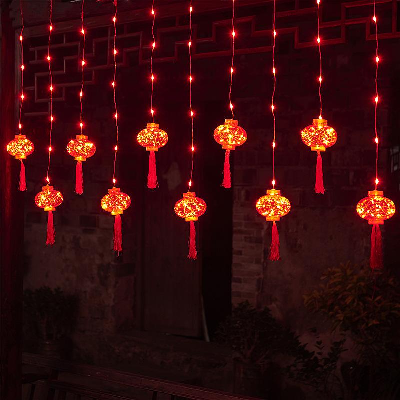 春节新年红灯笼窗帘灯节日布置家用过年装饰灯彩灯闪灯串灯满天星