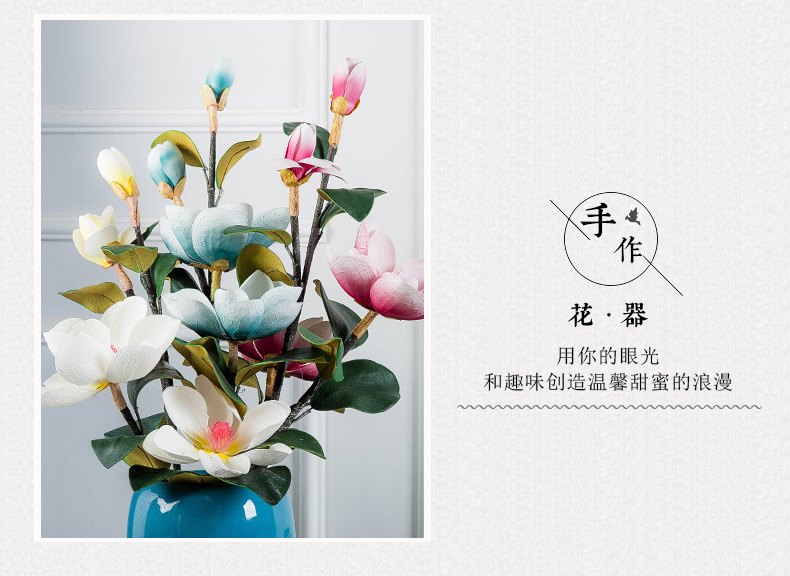 Jingdezhen ceramic vase landing large I and contracted household TV ark, porch, European - style decorative flower arranging furnishing articles