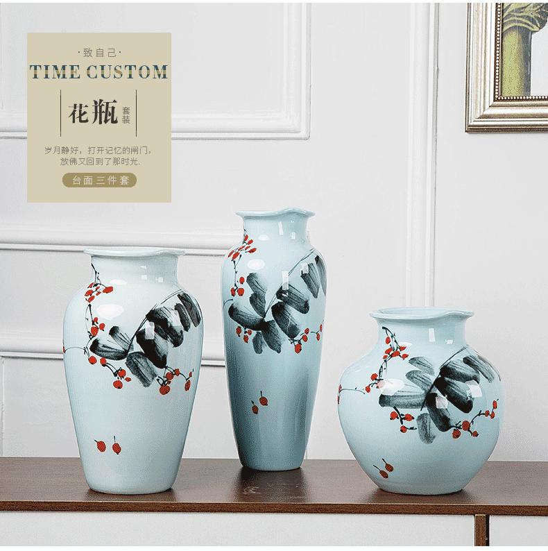 Jingdezhen new Chinese modern ceramic three - piece vase dry flower arranging wine sitting room adornment place adorn article vase