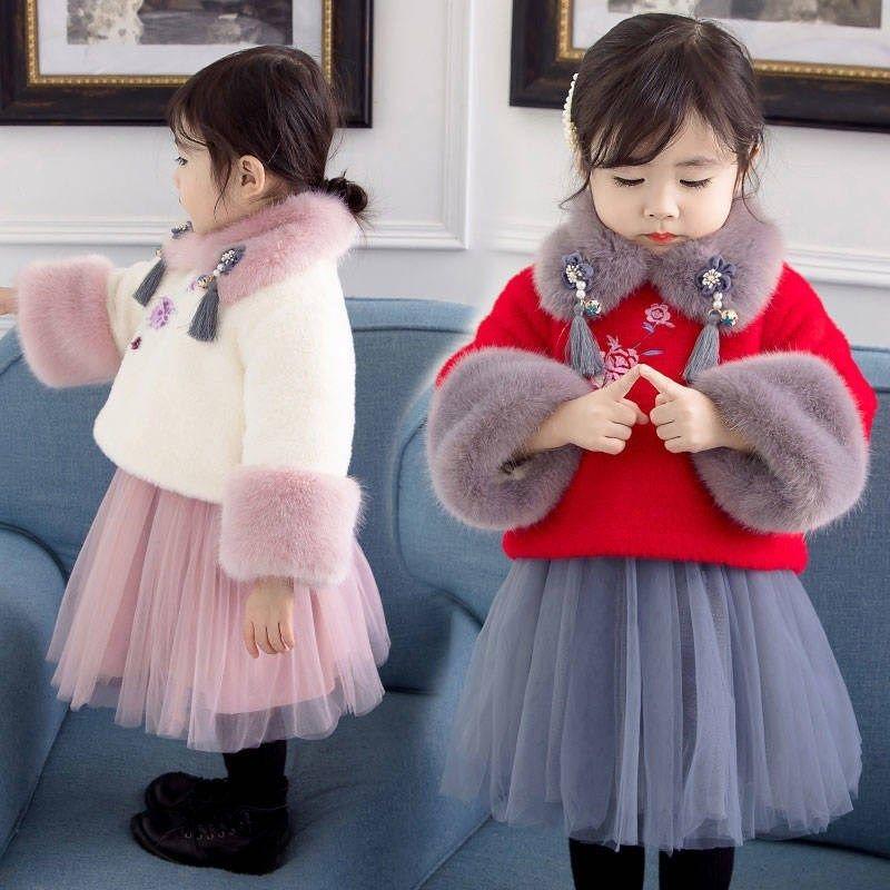 女童古风冬装拜年服礼服套装