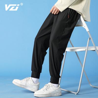 2021夏季薄款休闲长裤速干运动冰丝裤九分直筒宽松阔腿空调裤子男