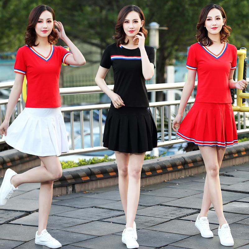 2019服装舞套装新款舞蹈女杨丽萍夏季衣服v服装短袖服跳舞广场短裙