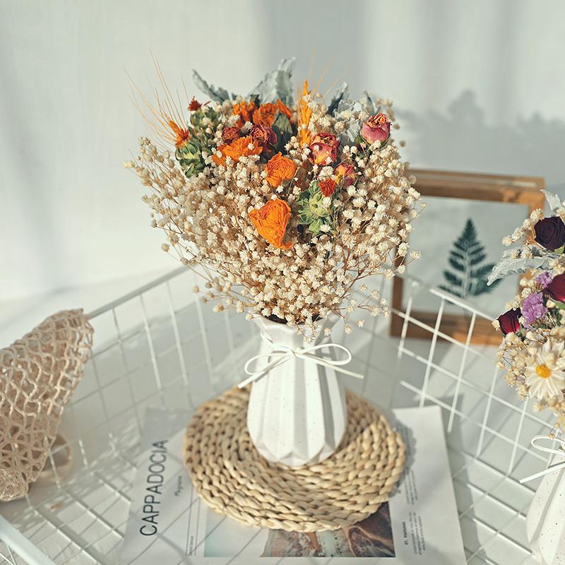 永生真花玫瑰干花风干花芦苇天然满天星轻奢花束客厅摆设装饰摆件