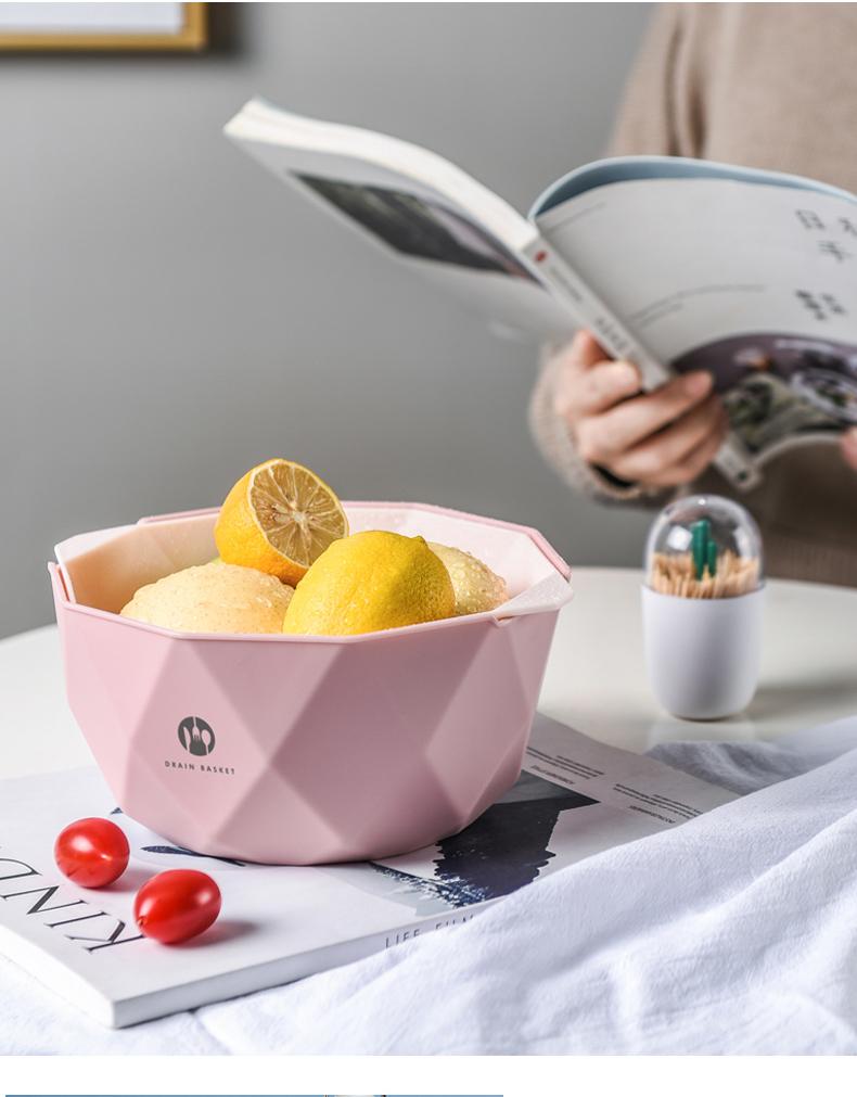 北欧水果盘果篮客厅家用厨房淘菜篮子双层洗菜盆洗水果沥水篮果筐详细照片