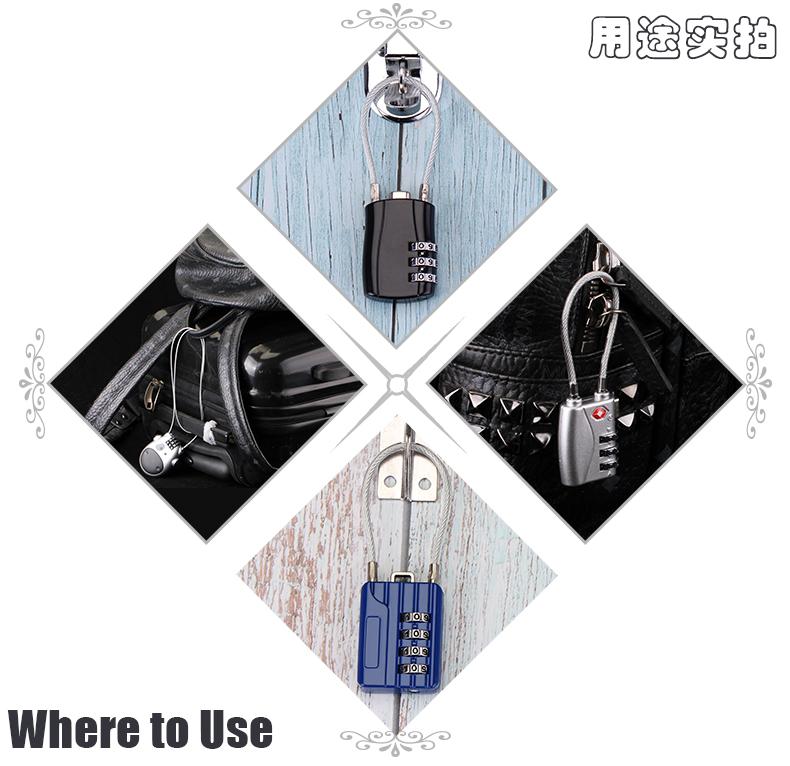 软钢丝锁密码锁挂锁箱包拉炼寄存行李储物更衣柜安全帽锁防盗详细照片