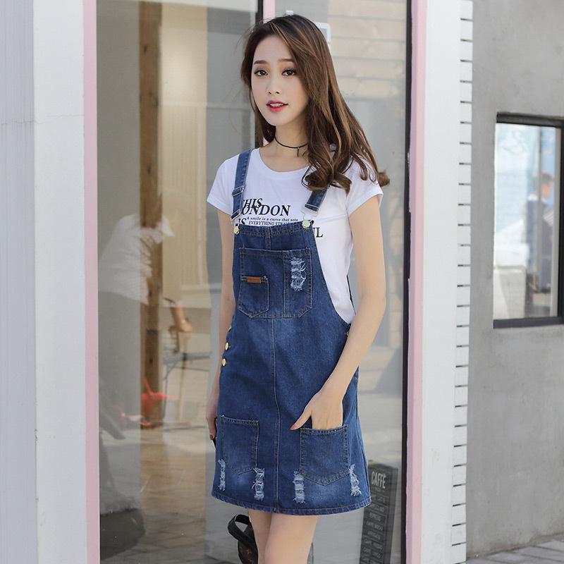82夏季新款韩版学院风百搭牛仔背带裙半身裙牛仔短裙潮