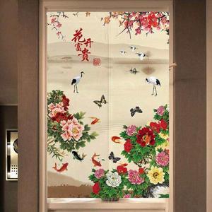 。遮挡中式中国风福字复古荷花布艺居家装饰门帘玄关客厅隔断半截