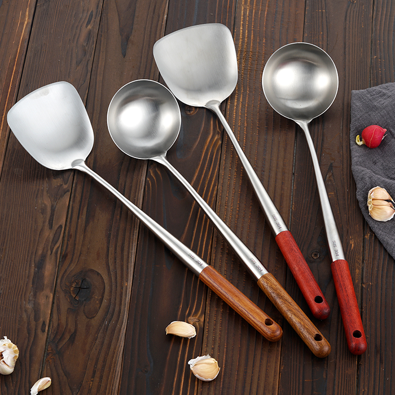 炒勺炒铲304不锈钢炒菜锅铲子家用长木柄厨师专用套装炒菜勺子铲