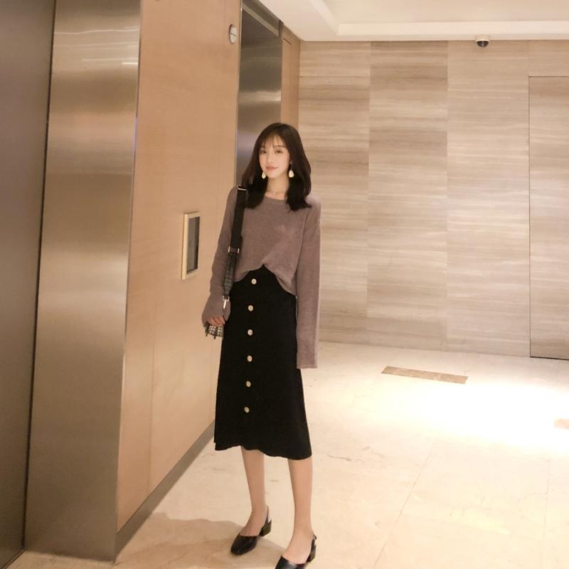 2018 осень новая коллекция Гонконгский аромат винтаж chic высокая талия трикотажный Юбка юбка фасон средней длины стиль Морозная ветровая юбка