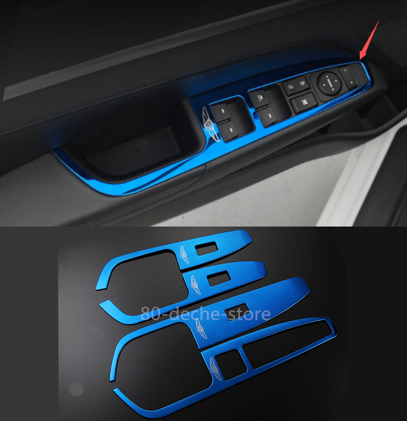 Stainless Blue Steering Wheel Decorative Frame Fit For Hyundai Elantra 2017-2020