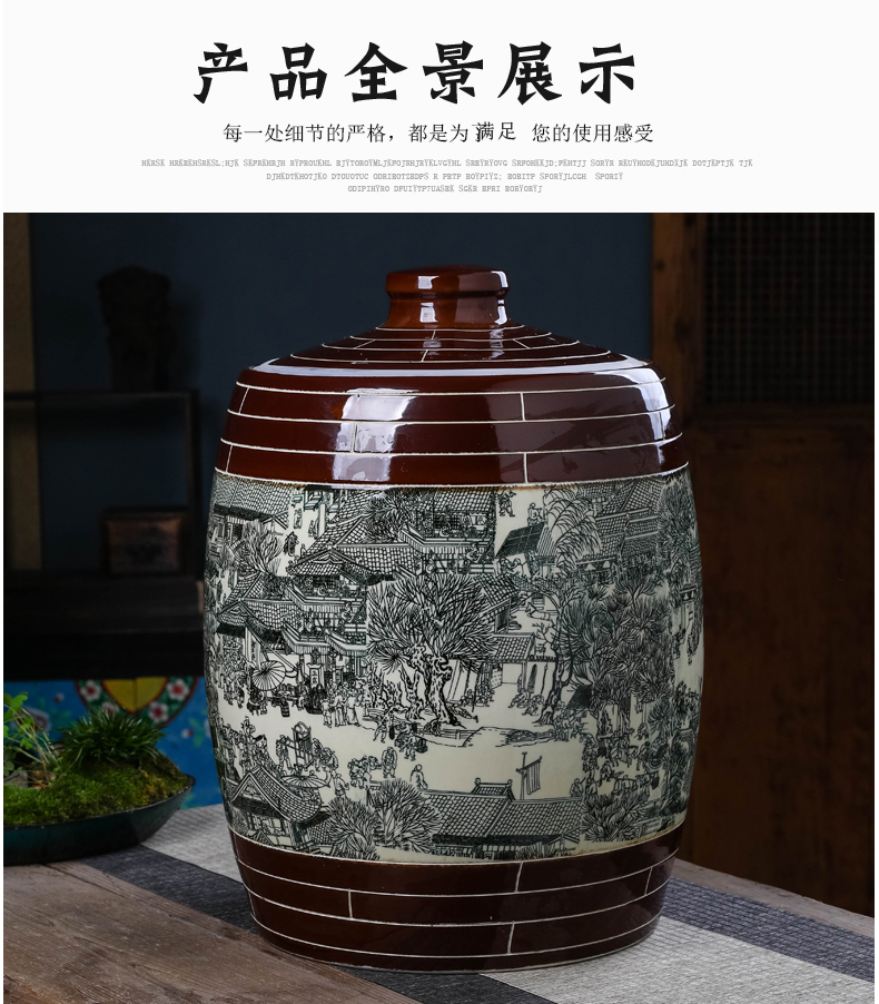 Jingdezhen ceramic tea pot 50 kg barrel puer tea storage with large storage tanks Chinese style household seal pot