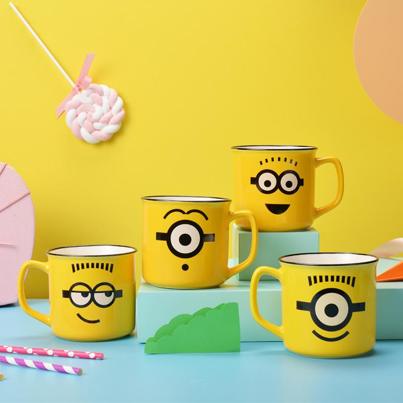 小黄人情侣表情水杯子陶瓷马克杯可爱牛奶杯创意动漫卡通杯3.2寸,免费领取1元淘宝优惠卷