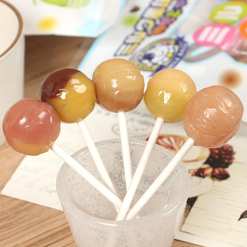 日本进口零食品 秋山5种口味水果棒棒糖水果糖牛奶果汁糖5支入50g