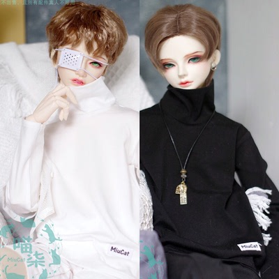 taobao agent BJD baby clothes high neck logo long-sleeved T-shirt bottoming shirt 3 points 4 points giant baby Pushu black and white two colors SD17 Meow Qi