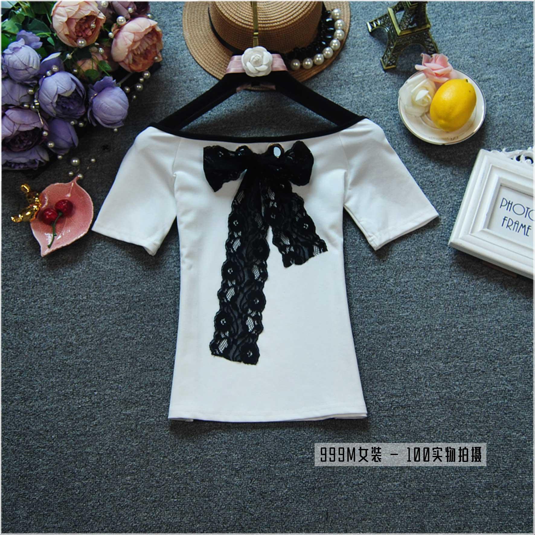夏季t恤女上衣修身显瘦短袖打底一字领露肩拼边棉质女装系带衫潮