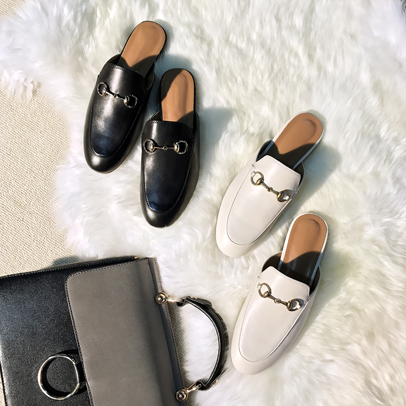 57c0609522fc Leather horsebit buckle Baotou half slippers women wear no heel lazy  slippers flat with mules shoes ladies sandals tide