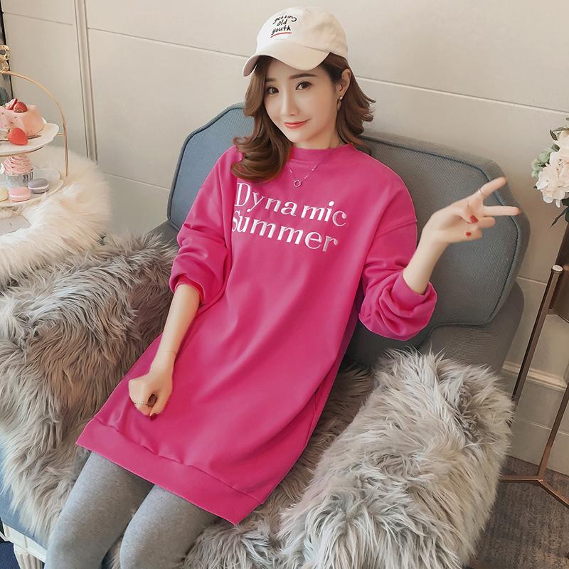 실제 패션 모유 수유 플러스 벨벳 모유 수유 스웨터 긴 단락 패션 문자 인쇄 후드 모유 캐주얼
