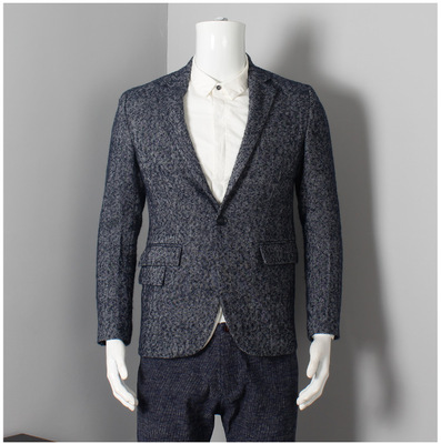 Foreign trade tail standard single men's tailor Slim thick wool suit Slim a button small suit Fashion wild jacket