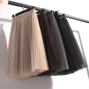 高腰网纱中长款半身裙大码女蓬长裙