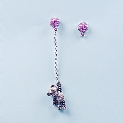 925银针不对称小熊猫气球耳钉耳环气质女长款个性耳夹耳饰品0395