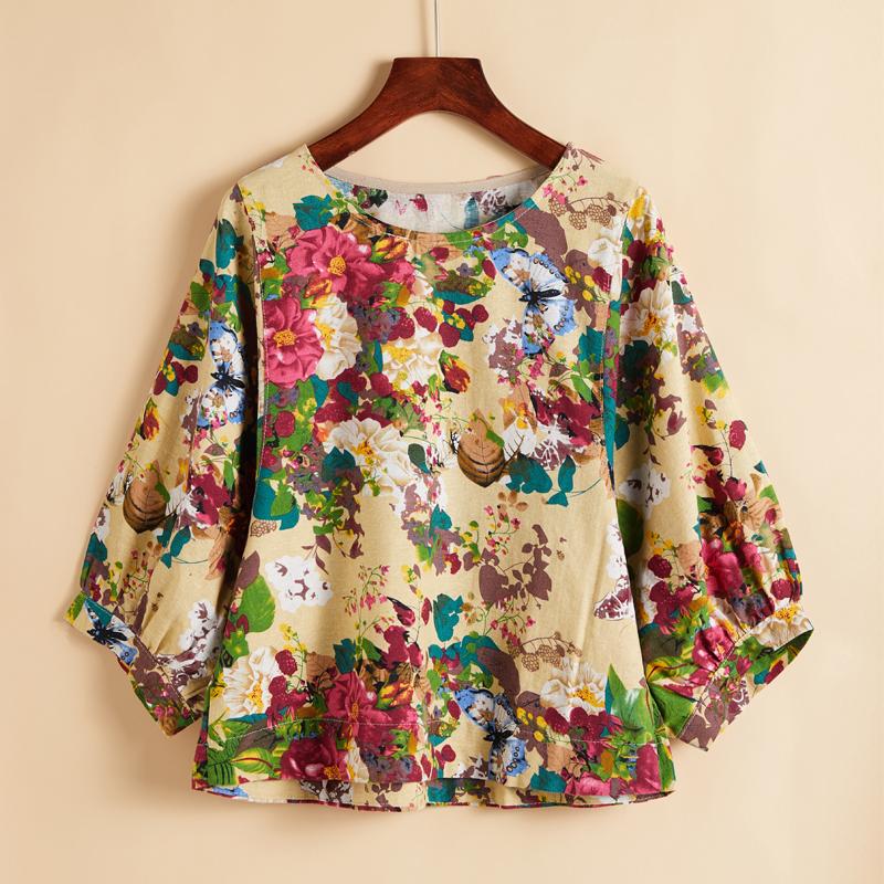 印花v衬衫衬衫七分女小衫民族风原创短新款宽松棉麻上衣春夏袖T恤