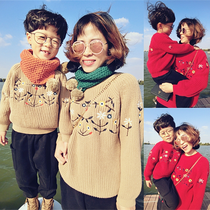 Отцовство свитер мать и дитя мать и дочь загружены зимние модели 2017 новый волна мальчиков корейский вышивка утолщённый рукав глава пальто