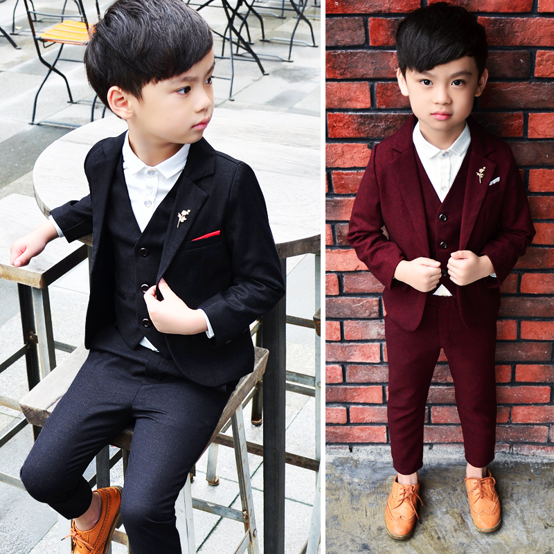 d3193ae09 Boy suit dress suit Korean version 3 Autumn 4 children's small suit 5 boys  flower girl three sets of 6-year-old children's clothing