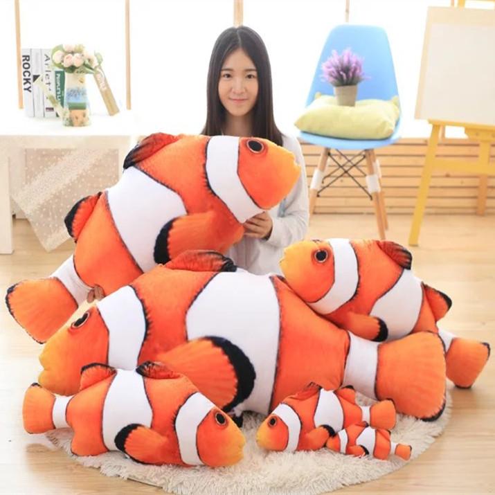 卡通小丑鱼公仔仿真大鱼毛绒玩具条纹鱼 创意生日活动小礼物