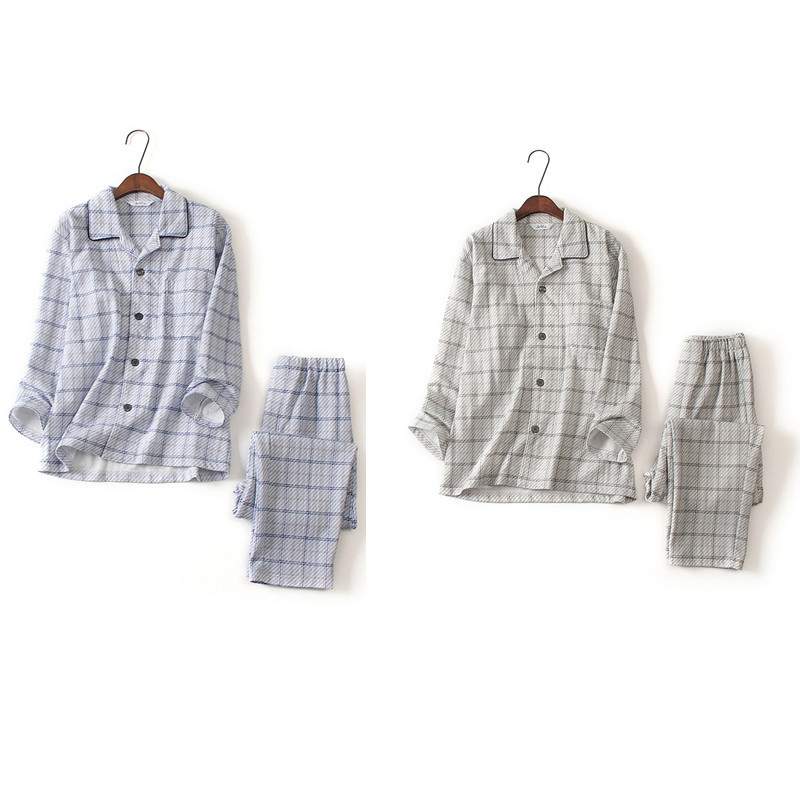 外贸原单日单 秋冬全棉绒布男士长袖睡衣套装 宽松大码家居服日本