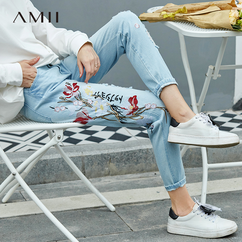 Amii minimalist Hong Kong style fashion embroidery denim pants female 2019 spring new embroidery hit color worn pants