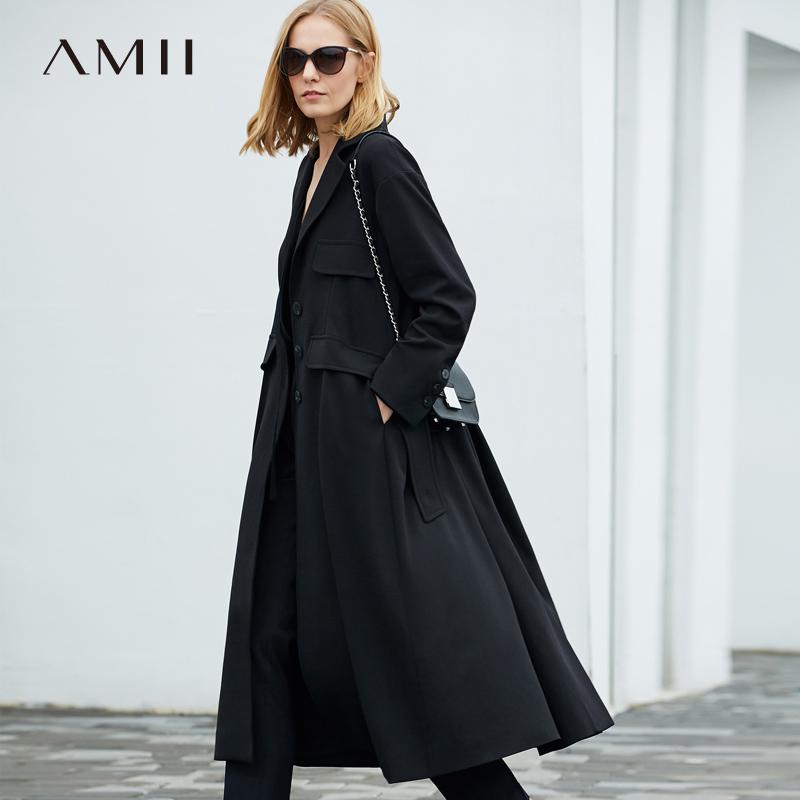 Amii極簡chic港風外套女2018秋季翻領收腰橡筋腰帶寬松長風衣