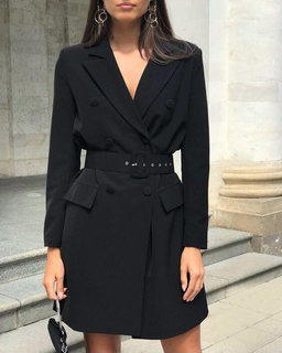 IQ2021 spring suit jacket women fashion temperament waist double-breasted mid-length suit dress women