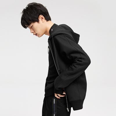 GXG nam 2018 mùa xuân mới của nam giới xu hướng thời trang đen trùm đầu dây kéo áo len # 181831233 Áo len