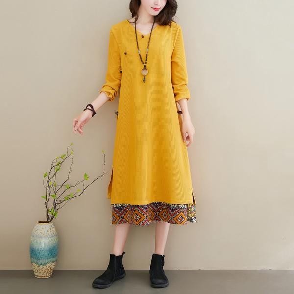 KTY11929#文艺民族风假两件针织连衣裙长款盘扣气质长裙宽松打底裙